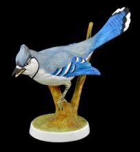 Crown Staffordshire Porcelain Blue Jay Bird Figural