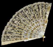 Victorian French Lace Fan with Gold Inlay