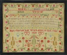 1828 Mary Barker Needlepoint Sampler