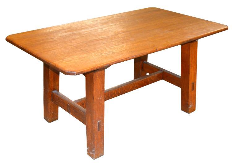 mission oak arts and crafts dining table. Black Bedroom Furniture Sets. Home Design Ideas