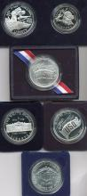 (5) US Commemorative Silver Dollars