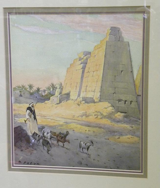 HUGH PATON VIEW OF THE TEMPLE AT KARNAK SIGNED