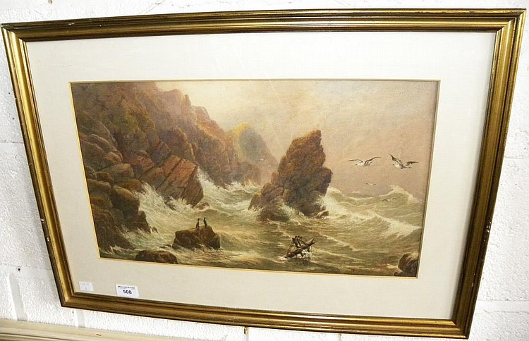H W BENTLEY A SHIPWRECK, SIGNED AND DATED 1913,