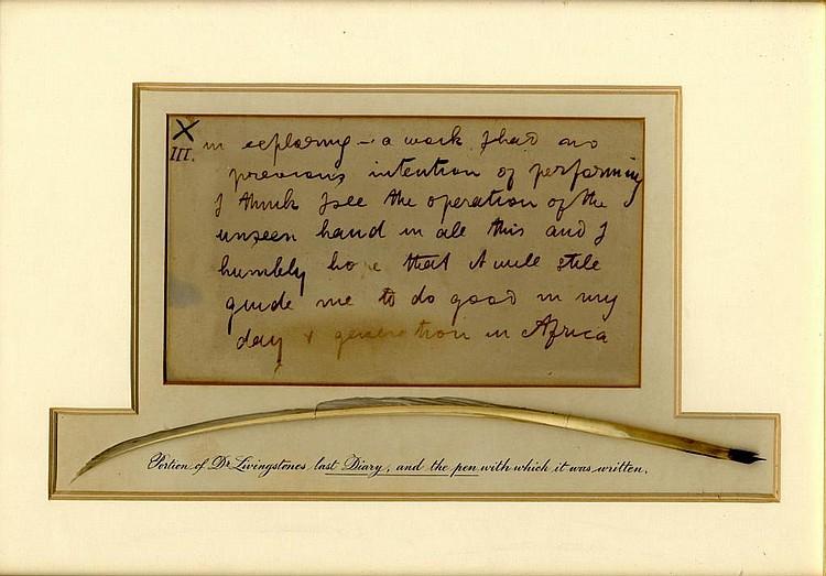 LIVINGSTONE (DAVID) (1813-1873) AUTOGRAPH NOTE