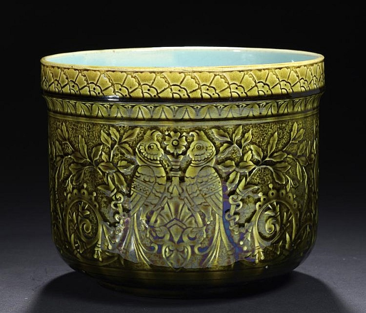 an unusual sarreguemines majolica cache pot moulded with des. Black Bedroom Furniture Sets. Home Design Ideas