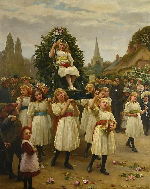HERBERT WILSON FOSTER (1848-1929) THE PROCESSION OF THE MAY QUEEN sign
