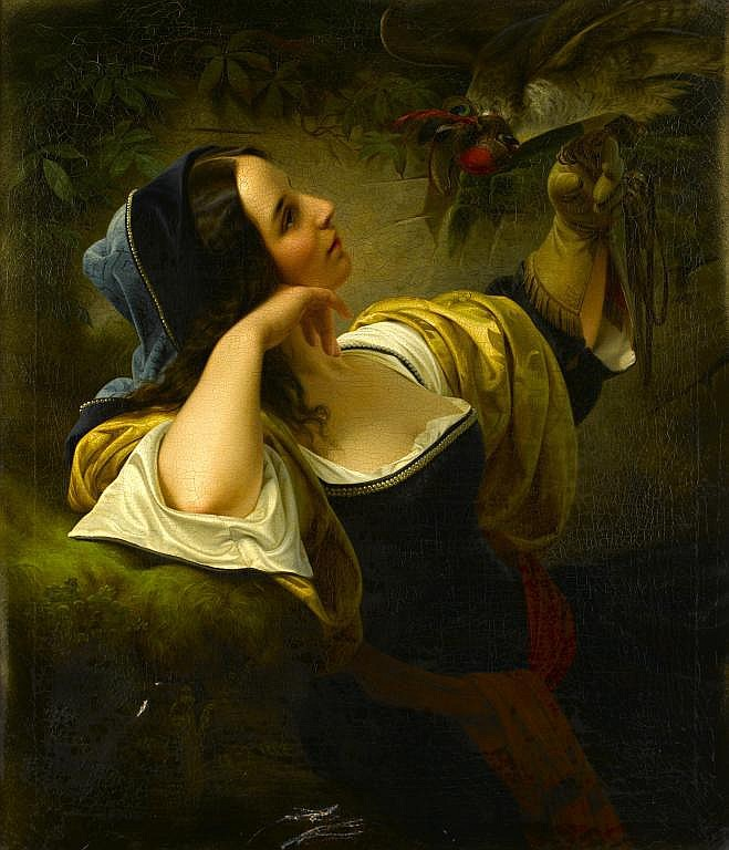 LOUIS AMMY BLANC (1810-1885) THE FALCONER signed,