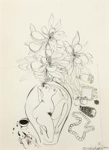 BRETT WHITELEY (1939-1992),  Preliminary Drawing for Magnolia with Money (Painting to have Real Roll of Money) c1980