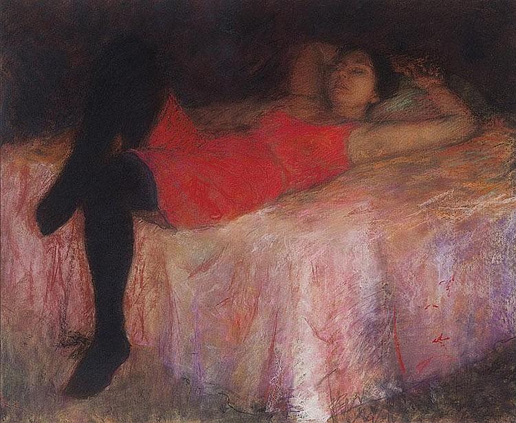 JUDY DREW born 1951  (Afternoon Nap - Woman Resting)