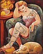 BILL COLEMAN (1922-1992)  Girl with a Dog, Bill Coleman, Click for value