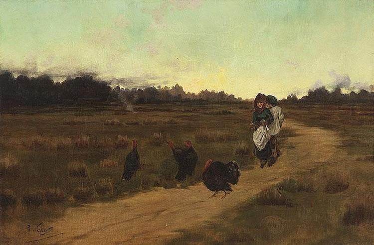 GIROLAMO NERLI (1860-1926)  (A Quiet Kiss in a Landscape)