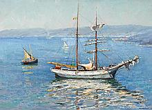 WILL ASHTON (1881-1963)  Ketch in Sydney Harbour