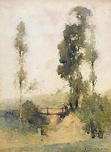 J.J. HILDER (1881-1916)  The Old Footbridge, Galston