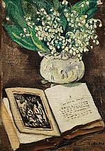 LOUIS VALTAT (1869-1952, French)  Flowers with Book