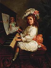 NICHOLAS CHEVALIER (1828-1902)  Portrait of Miss Winifred Hudson as a Young Girl, Seated at a Piano, her Doll Nearby 1888