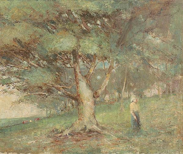 JANE SUTHERLAND (1853-1928) Untitled (Figure by the Tree)