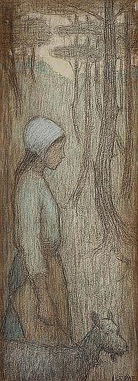 ISO RAE (1860-1940) Breton Girl with Goat