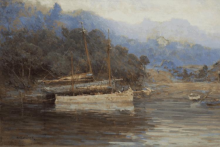 ARTHUR BOYD SNR (1862-1940) Moored Boats