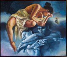 Original Painting, Nude couple, Refined erotism, Acrylic on canvas by Rafael Merinoo, Acrylic on canvas, 100 x 120 cm