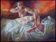 Original Painting, Nude couple, Refined erotism, Acrylic on canvas by Rafael Merinoo, 120 x 90 cm
