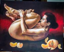 Original Painting, Nude woman, Refined erotism, Acrylic on canvas by Rafael Merinoo, 80 x 100 cm