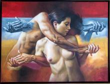 Original Painting, Nude couple, Refined erotism, Acrylic on canvas by Rafael Merinoo, 90 x 120 cm