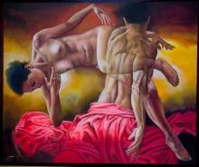 Original Painting, Nude couple, Refined erotism, Acrylic on canvas by Rafael Merinoo, 100 x 120 cm