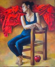 Original Painting, Resting Ballerina, Acrylic on canvas, by Rafael Merinoo, 120 x 100 cm