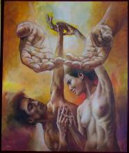 Original Painting, Nude couple, Refined erotism, Acrylic on canvas by Rafael Merinoo, 120 x 100