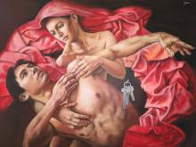 Original Painting, Nude couple, Refined erotism, Acrylic on canvas by Rafael Merinoo, 80 x 100 cm