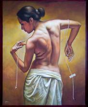 Original Painting, The bare back, Refined erotism, Acrylic on canvas by Rafael Merinoo, 100 x 80 cm