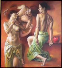 Original Painting, Nude couple, Refined erotism, Acrylic on canvas by Rafael Merinoo, 120 x 100 cm