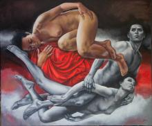 Original Painting, Nude couple, Refined erotism, Acrylic on canvas by Rafael Merinoo,100 x 120 cm