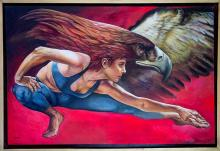 Original Painting, Standing Mexico, Acrylic on canvas by Rafael Merinoo, 80 x 120 cm