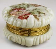 Wave Crest late Victorian opaque white glass dresser box