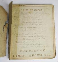early 19th c penmanship book by Lydia Brown age 12