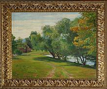 Adele D Williams (Am 1868-1952) Cottage landscape