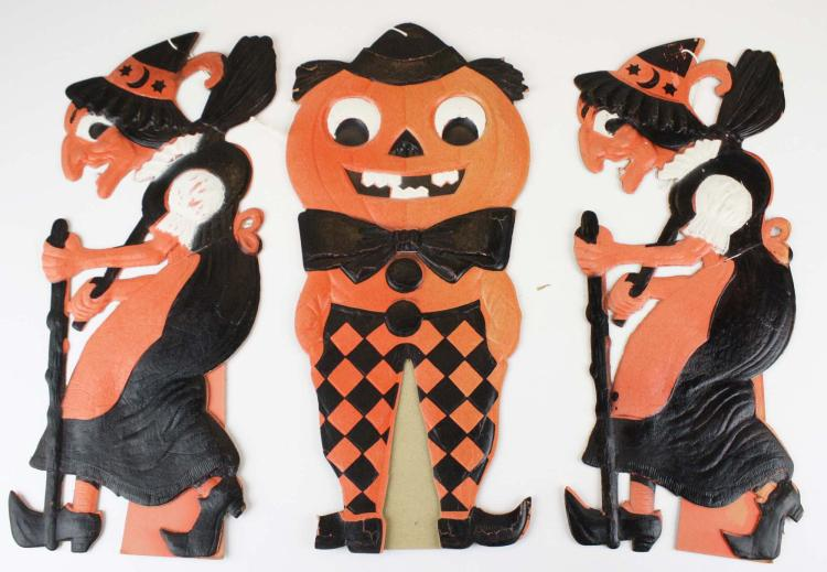 3 large vintage halloween german decorations Vintage halloween decorations uk