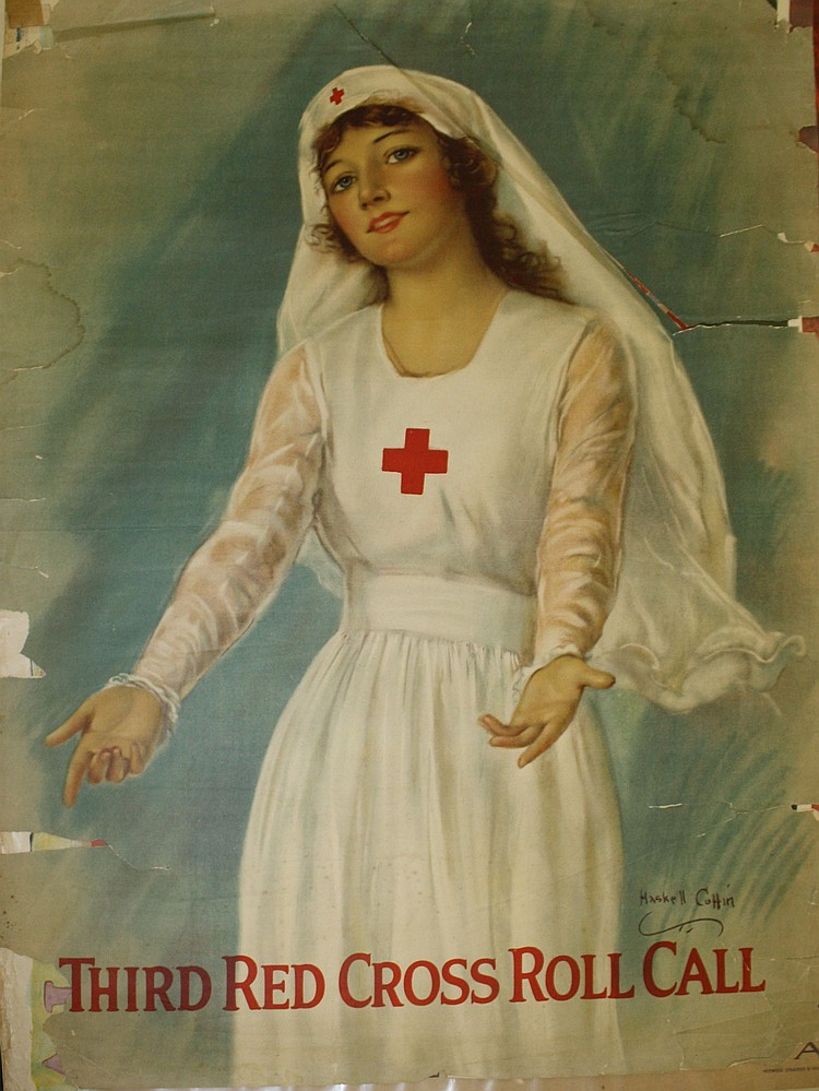 Haskell Coffin w/ nurse in white Third Red Cross