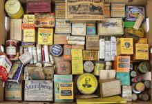Large group of early pill & medicine boxes