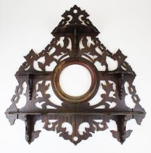 late 19th c walnut wall rack with shelves