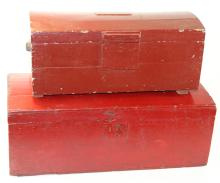 two early dome top boxes in later red paint
