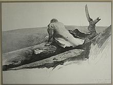 Andrew Wyeth (Am 1917-2009) Study for April Wind   litho print pencil signed by artist lower right 18 x 25