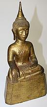Giltwood seated Buddha figure ht. 12