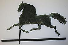 Blackhawk running house weathervane in verdigris