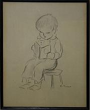 Tasha Tudor (VT 1915-2008) pencil sketch of young