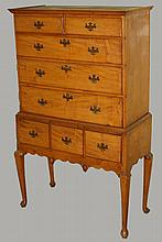 Small 18th c. Queen Anne curly maple highboy with