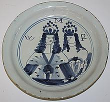ca. 1690 English Delftware double portrait plate