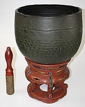 Asian large bronze bell/singing bowl on lacquered