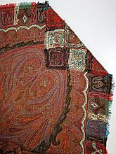 ca. 1860's signed paisley shawl- hand stitched w/